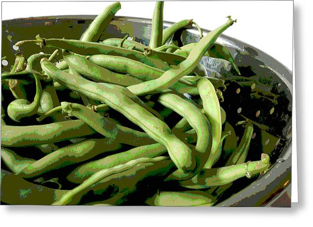 Green Beans Photographs Greeting Cards - Farmers Market Green Beans Greeting Card by Ann Powell