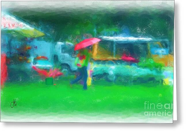 Buy Local Greeting Cards - Farmers Market In The Rain 993 20140916 Greeting Card by Julie Knapp