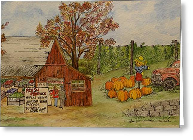 Farm Stand Greeting Cards - Farmers Market Greeting Card by Meldra Driscoll