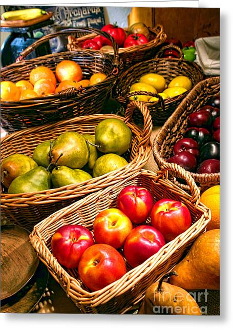 Fruit Stand Greeting Cards - Farmers Market Greeting Card by Olivier Le Queinec