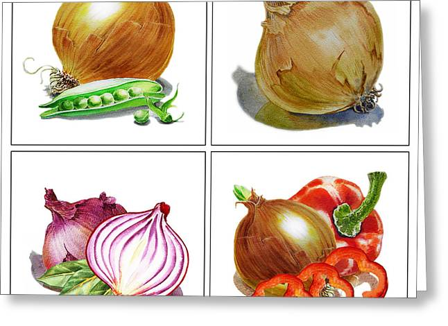 Leaf Peepers Greeting Cards - Farmers Market Onion Collection Greeting Card by Irina Sztukowski