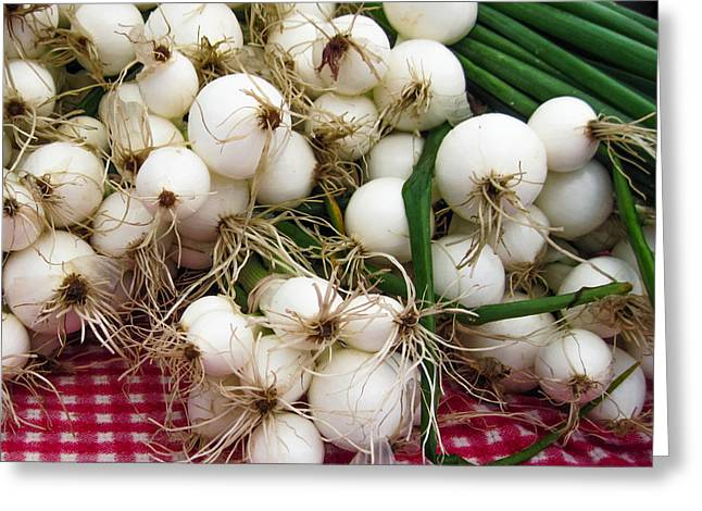 Checked Tablecloths Digital Greeting Cards - Farmers Market Onions Greeting Card by Timothy Johnson