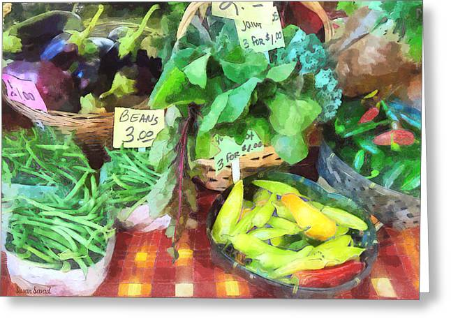 Harvests Greeting Cards - Farmers Market - Peppers and String Beans Greeting Card by Susan Savad