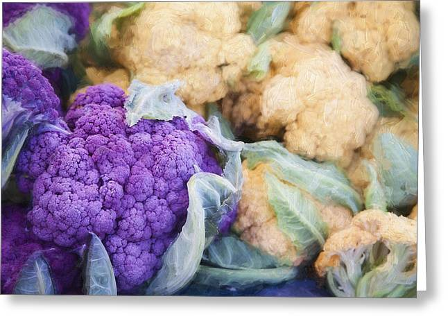 Farmers Market Greeting Cards - Farmers Market Purple Cauliflower Greeting Card by Carol Leigh