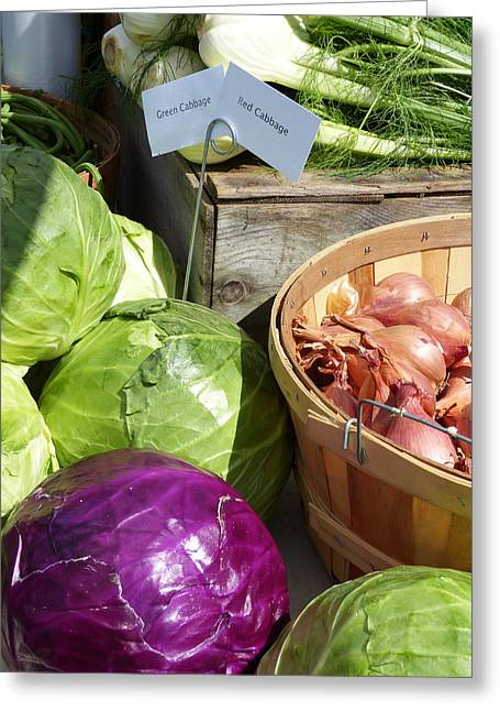 Farm Stand Greeting Cards - Farmers Market Stand Greeting Card by Susan Colby