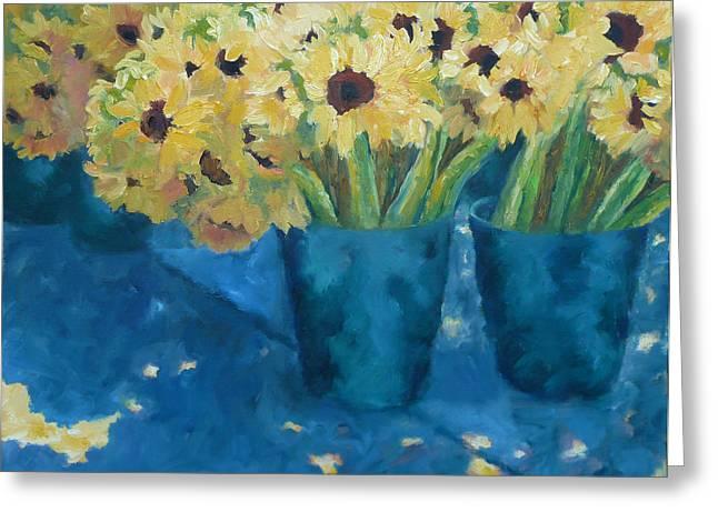 Impressionistic Market Greeting Cards - Farmers Market Sunflowers Greeting Card by Carolyn Jarvis