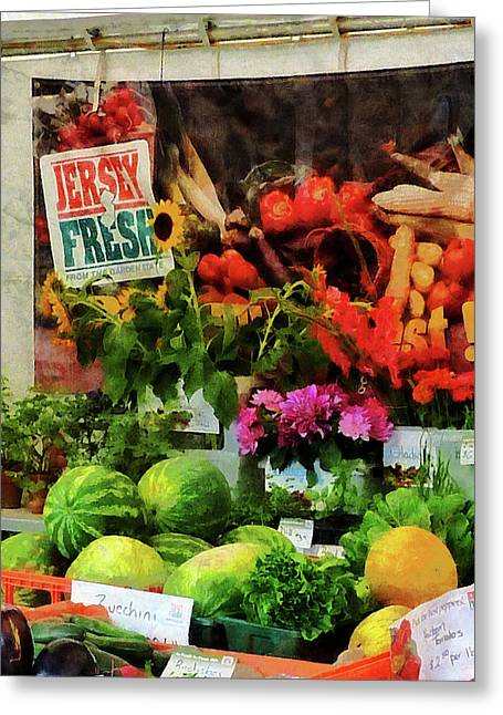 Cuisine Greeting Cards - Farmers Market Greeting Card by Susan Savad