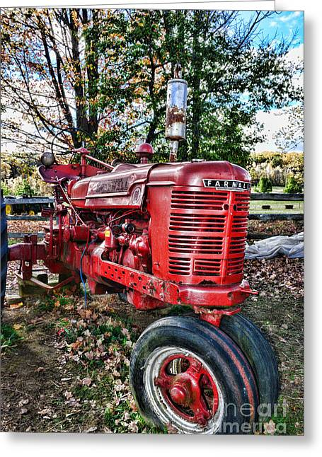 Harvest Time Photographs Greeting Cards - Farmers Tractor Greeting Card by Paul Ward