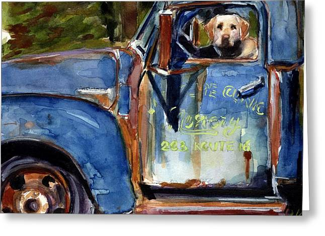 Yellow Dog Paintings Greeting Cards - Farmhand Greeting Card by Molly Poole