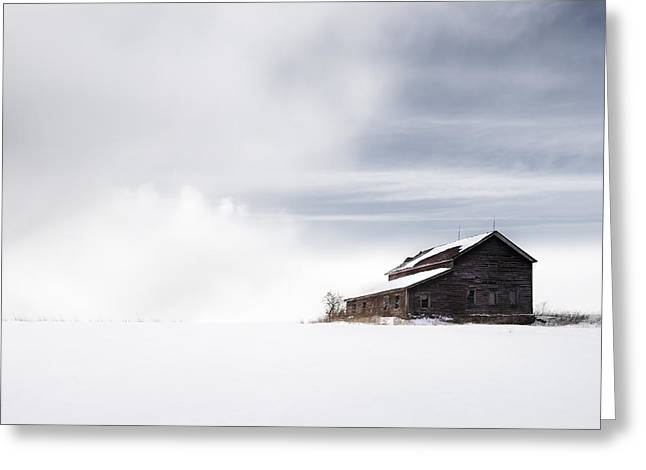 Farmhouse - A Snowy Winter Landscape Greeting Card by Gary Heller
