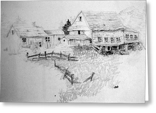 Stone House Drawings Greeting Cards - Farmhouse And Barn Greeting Card by Joseph Hawkins