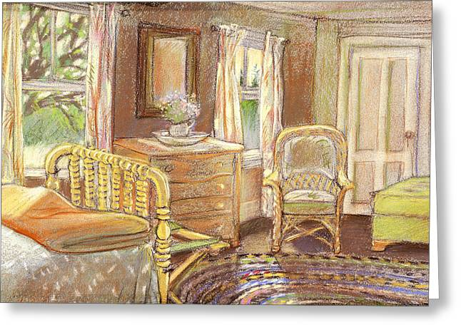 Maine Farmhouse Greeting Cards - The South Bedroom Greeting Card by Mary Wilshire