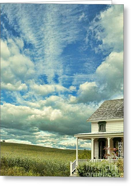 Cornfield Greeting Cards - Farmhouse by Cornfield Greeting Card by Jill Battaglia