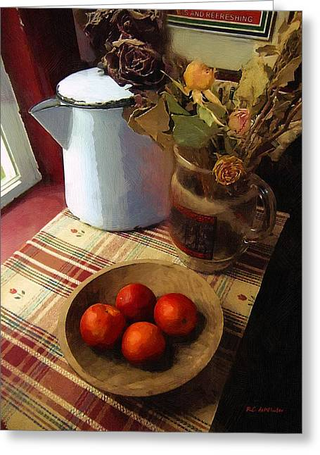 Table Greeting Cards - Farmhouse Fruit and Flowers Greeting Card by RC deWinter