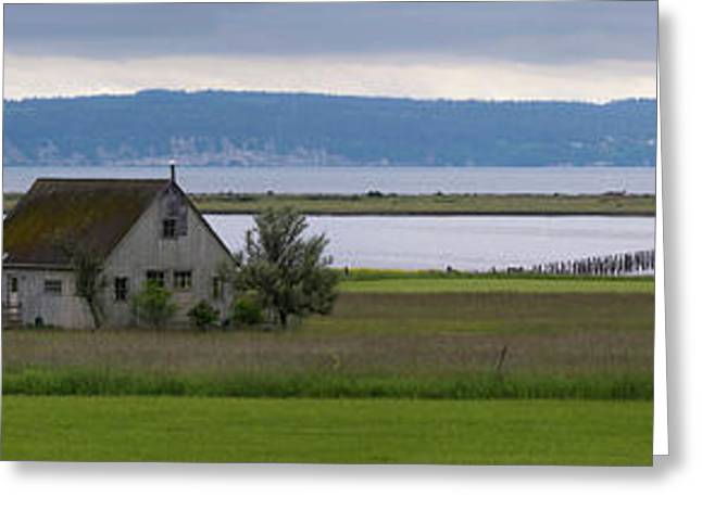 Farmhouse In A Field Along Shore Greeting Card by Panoramic Images