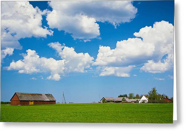 Estonia Greeting Cards - Farmhouse In A Field, Loksa, Lahemaa Greeting Card by Panoramic Images