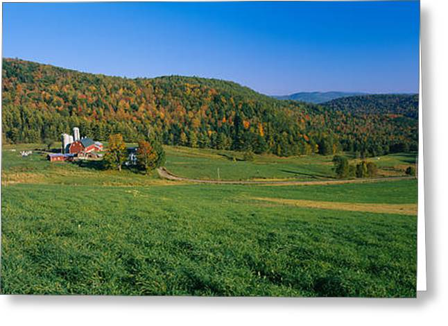 Clear Fall Day Greeting Cards - Farmhouse In A Field, Vermont, Usa Greeting Card by Panoramic Images