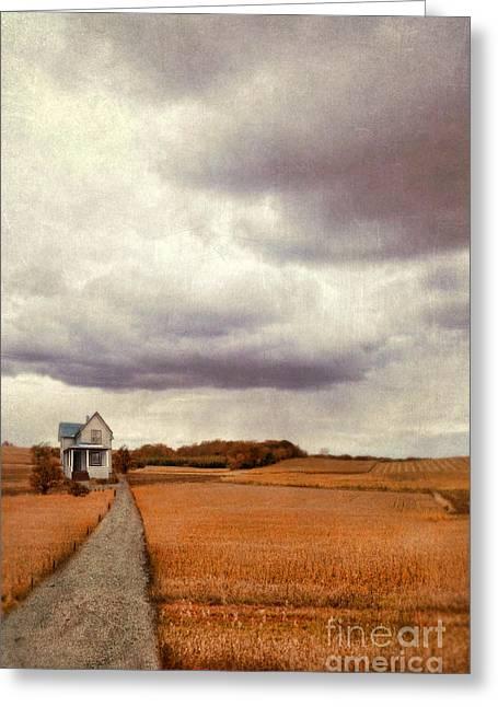 Gravel Road Greeting Cards - Farmhouse in Autumn Fields Greeting Card by Jill Battaglia