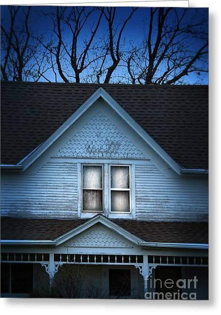 Clapboard House Greeting Cards - Farmhouse in the Evening Greeting Card by Jill Battaglia