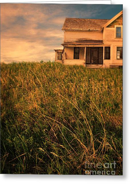 Clapboard House Greeting Cards - Farmhouse in the Grass Greeting Card by Jill Battaglia