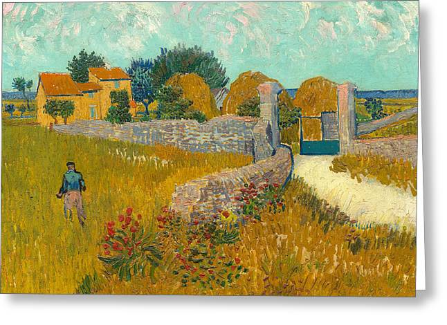 Arles Paintings Greeting Cards - Farmhouse in the Provence Greeting Card by Vincent van Gogh