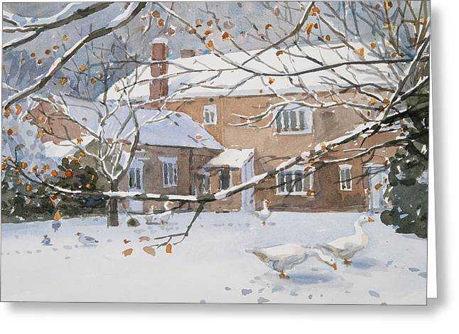 Farmhouse In The Snow Greeting Card by Lucy Willis