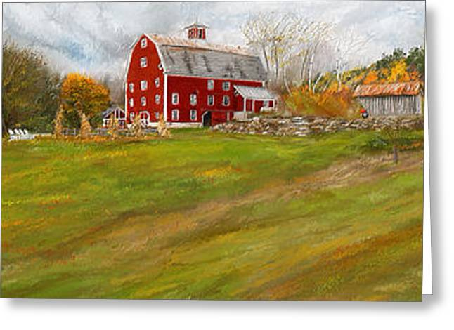 Farm Scenes Greeting Cards - Red Barn Art- Farmhouse Inn At Robinson Farm Greeting Card by Lourry Legarde