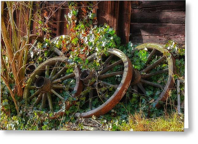 Wooden Wagons Greeting Cards - Farmhouse Memories Greeting Card by Mountain Dreams