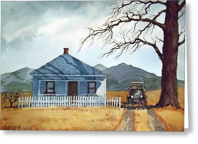House Ceramics Greeting Cards - Farmhouse Near Livingston Greeting Card by Dan Krapf