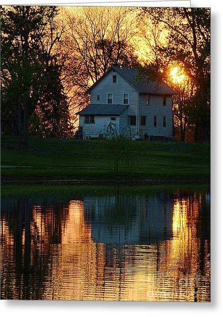Lake House Greeting Cards - Farmhouse Reflections at Sunset Greeting Card by Jill Battaglia