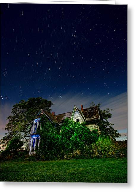 Stars Trail Greeting Cards - Farmhouse Star Trails.  Greeting Card by Cale Best