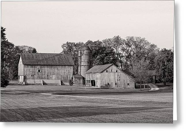 Illinois Barns Photographs Greeting Cards - Farmhouse...black And White Greeting Card by Tom Druin