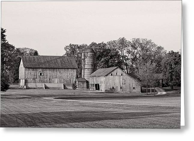 Farmhouse...black And White Greeting Card by Tom Druin
