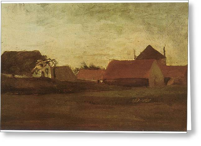 Twilight Drawings Greeting Cards - Farmhouses in Loosduinen near the Hague at Twilight Greeting Card by Vincent van Gogh