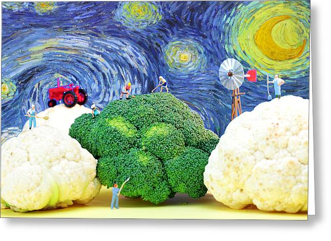 Farmers Field Greeting Cards - Farming on broccoli and cauliflower under starry night Greeting Card by Paul Ge
