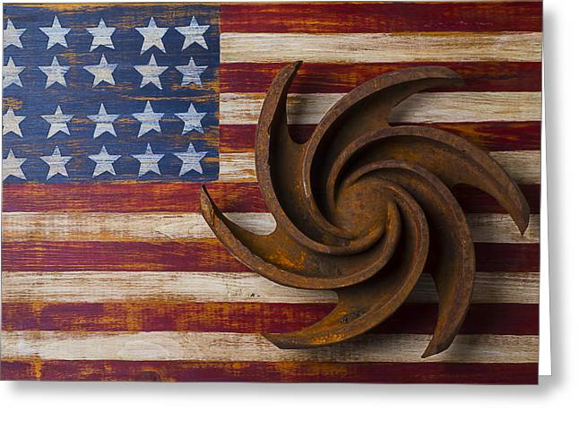 Use Concepts Greeting Cards - Farming tool on American flag Greeting Card by Garry Gay