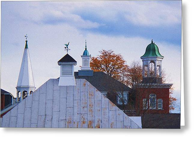 Weathervane Digital Art Greeting Cards - Farmington Rooftops Greeting Card by Joy Nichols