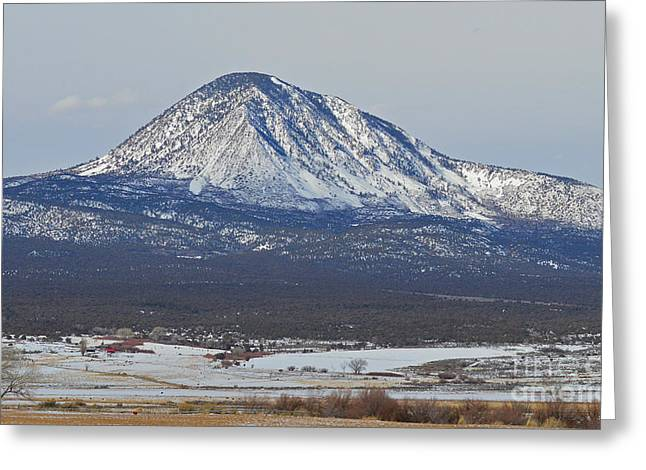 Farmland under the mountain Greeting Card by Meandering Photography