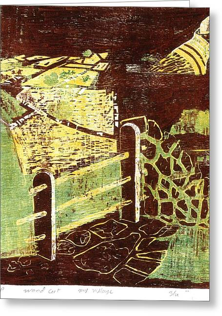 Print Making Mixed Media Greeting Cards - Farms And Fields Greeting Card by Makarand Joshi