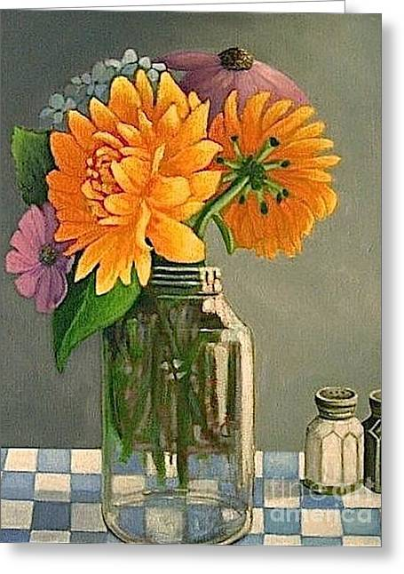 Farm Stand Paintings Greeting Cards - Farmstand flowers Greeting Card by Janet Bolton