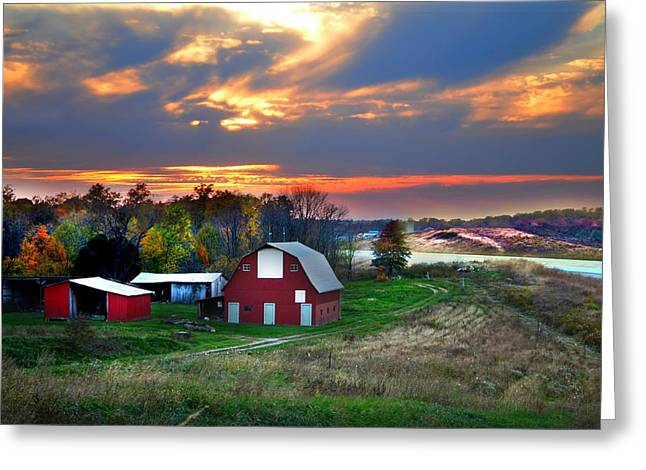 Farmstead At Sunset Greeting Card by Julie Dant