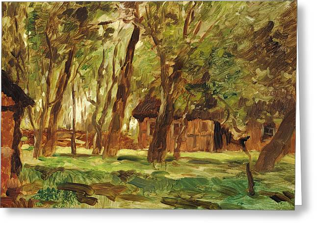 Green Foliage Greeting Cards - Farmstead under Trees Greeting Card by Thomas Ludwig Herbst