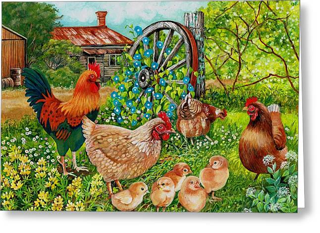 Old Fence Posts Paintings Greeting Cards - Farmyard Family Greeting Card by Val Stokes