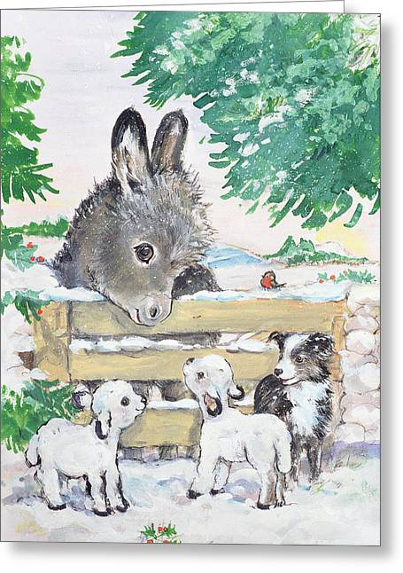 Collie Greeting Cards - Farmyard Friends, 1996 Wc Greeting Card by Diane Matthes