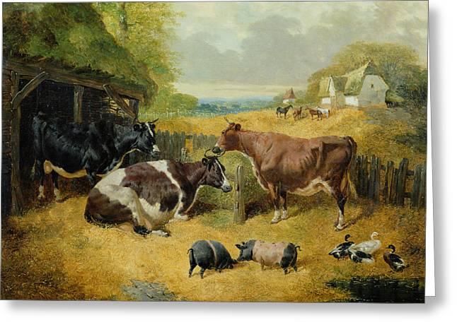 Farmyard Scene Greeting Card by John Frederick Herring Snr