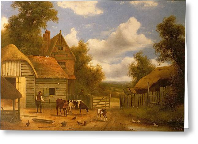 Farm Worker Greeting Cards - Farmyard Scene Greeting Card by Charles Vickers