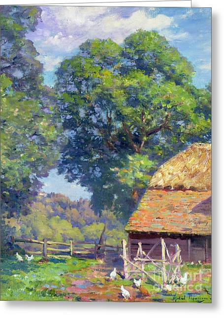 Tall Trees Greeting Cards - Farmyard with Poultry Greeting Card by Gabriel Edouard Thurner