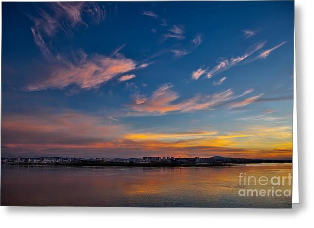 Rio Formosa Greeting Cards - Faro At Dawn Greeting Card by English Landscapes