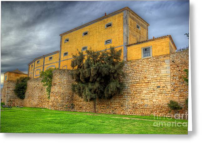 Blue Ria Greeting Cards - Faro City Walls Greeting Card by English Landscapes