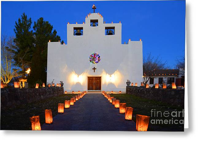 Saint Christopher Photographs Greeting Cards - Farolitos Saint Francis De Paula Mission Greeting Card by Bob Christopher
